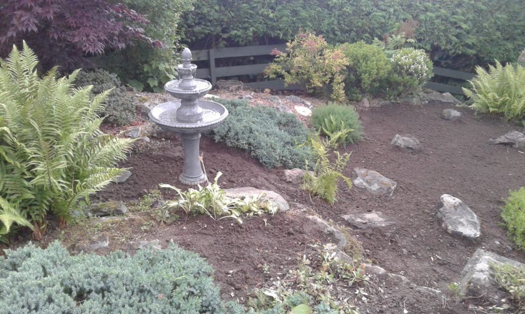 Original pond filled in and construction of feature water-fountain.